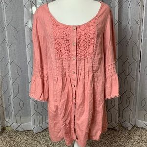 Soft Surroundings Rose Linen Tunic or Dress M